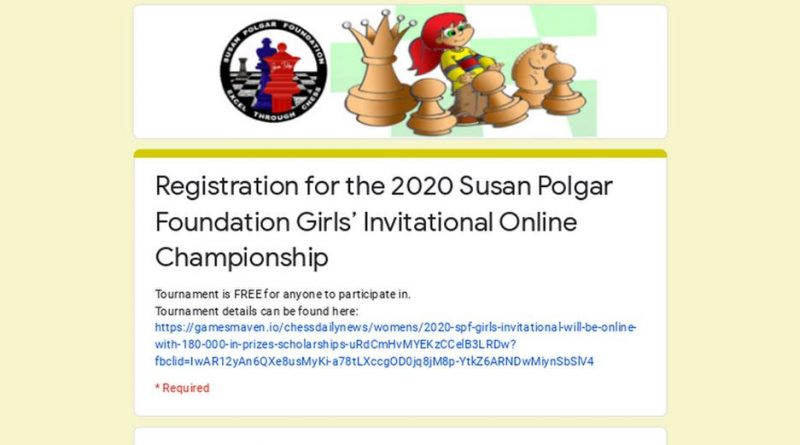 2020 Susan Polgar Foundation Girls Invitational will be online with $180,000+ in prizes/scholarships. Registration is open!
